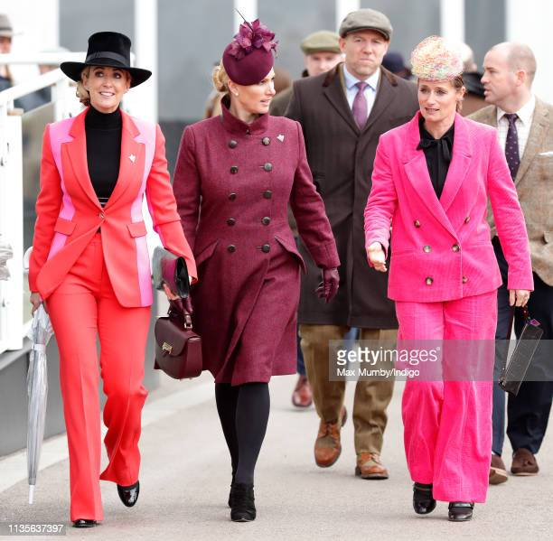 Chanelle McCoy Zara Tindall and Dolly Maude attend day 2 'Ladies Day' of the Cheltenham Festival at Cheltenham Racecourse on March 13 2019 in...
