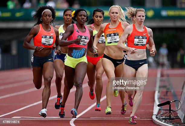 Chanelle Price Ajee Wilson Alysia Montano Brenda Martinez Molly Ludlow and Phoebe Wright compete in the Women's 800 Meter Run final during day four...
