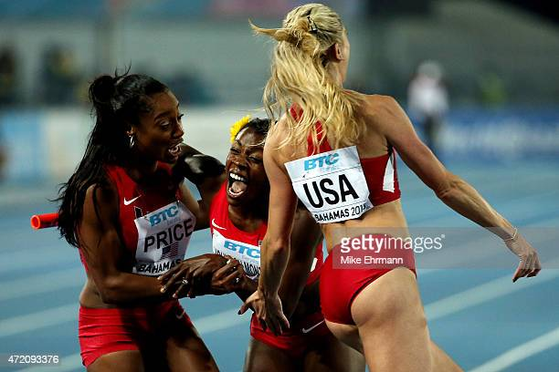 Chanelle Price, Molly Beckwith-Ludlow and Alysia Johnson Montano of the United States celebrate after winning the final of the women's 4 x 800 metres...
