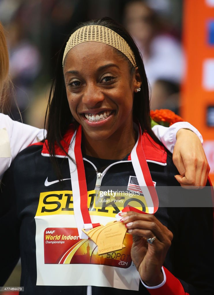 Chanelle Price of the United States poses with her gold medal during the medal ceremony for the Women's 800m final during day three of the IAAF World Indoor Championships at Ergo Arena on March 9, 2014 in Sopot, Poland.