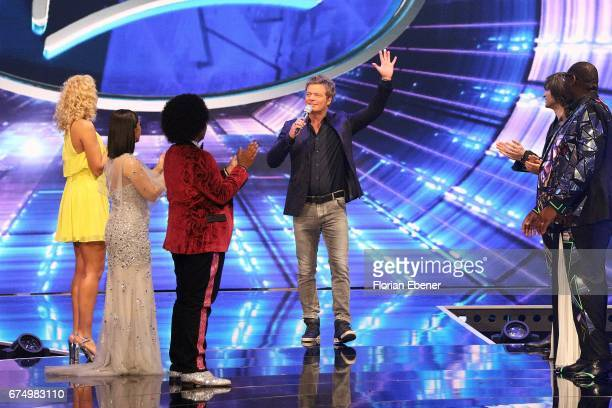Chanelle Wyrsch Duygu Goenel Noah Schaerers and Oliver Geissen during the fourth event show and semi finals of the tv competition 'Deutschland sucht...