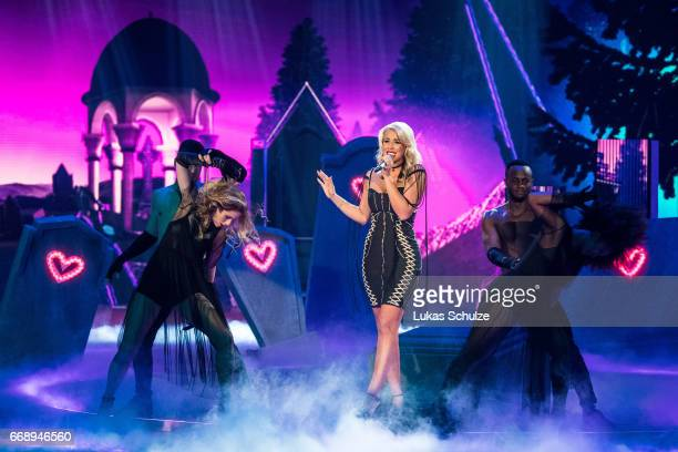 Chanelle Wyrsch performs during the second event show of the tv competition 'Deutschland sucht den Superstar' at Coloneum on April 15 2017 in Cologne...