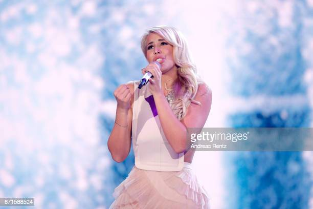 Chanelle Wyrsch performs during the third event show of the tv competition 'Deutschland sucht den Superstar' at Coloneum on April 22 2017 in Cologne...