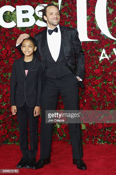 Chaney Glover and Savion Glover attend the 2016 Tony Awards Red Carpet at The Beacon Theatre on June 12 2016 in New York City
