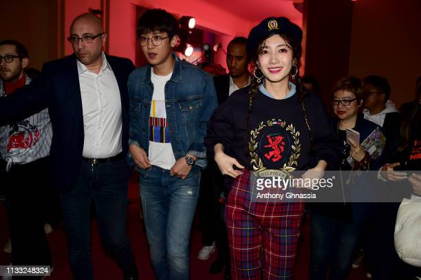 Chaneyol Park and Maggie Jiang attend the Tommy Hilfiger TOMMYNOW Spring 2019 TommyXZendaya Premieres at Theatre des ChampsElysees on March 02 2019...