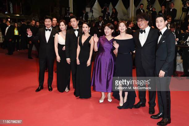 Chang HyaeJin Cho YeoJeong Bong JoonHo KangHo Song Lee SunKyun Choi WooShik Park SoDam Lee JungEun attend the screening of Parasite during the 72nd...