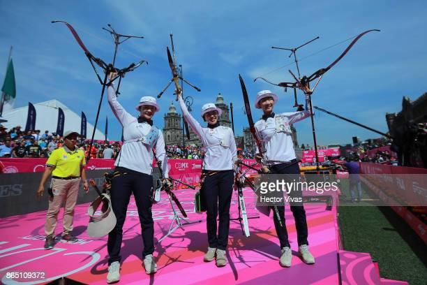 Chang Hye Jin Choi Misun and Kang Chae Young of Korea celebrate during the Gold Recurve Women Team Competition as part of the Mexico City 2017 World...