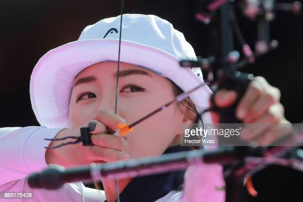 Chang Hye Jin of Korea lines up an arrow during the Gold Recurve Women Competition as part of the Mexico City 2017 World Archery Championships at...