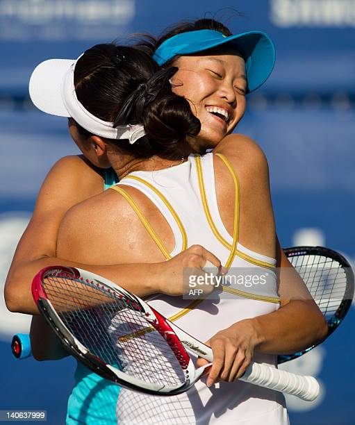 Chang Kai-Chen and Chuang Chia-Jung of Taiwan celebrate their win against Rika Fujiwara of Japan and Chan Hao-Ching of Taiwan during their doubles...