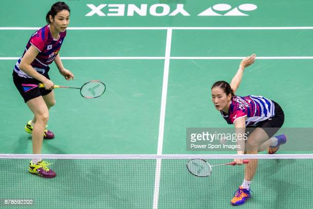 Chang Ye Na and Jung Kyung Eun of South Korea compete against Misaki Matsutomo and Ayaka Takahashi of Japan during their women doubles round 32 match...