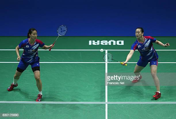 Chang Ye Na and Lee So Hee of Korea compete against Chen Qingchen and Jia Yifan of China in the Women's Doubles semi final match during day four of...