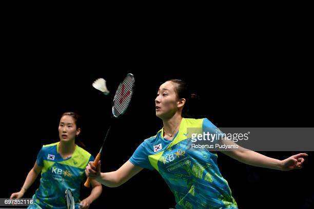 Chang Ye Na and Lee So Hee of Korea compete against Chen Qingchen and Jia Yifan of China during Womens Double Final match of the BCA Indonesia Open...