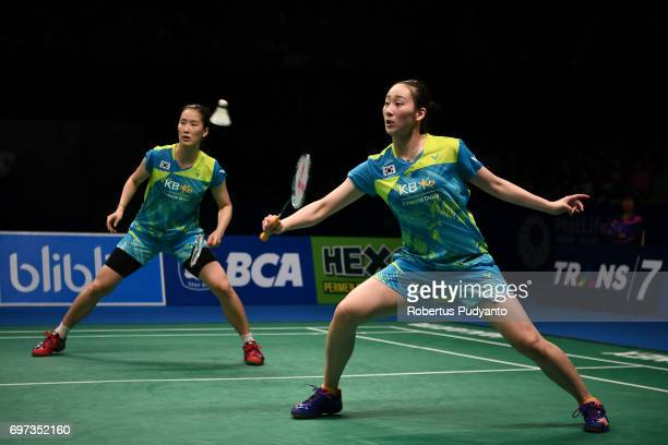 Chang Ye Na and Lee So Hee of Korea compete against Chen Qingchen and Jia Yifan of China during Women's Double Final match of the BCA Indonesia Open...