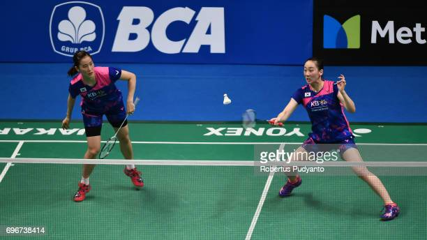 Chang Ye Na and Lee So Hee of Korea compete against Della Destiara Haris and Rosyita Eka Putri Sari of Indonesia during Womens Double Quarterfinal...