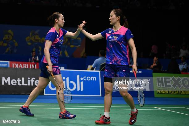 Chang Ye Na and Lee So Hee of Korea compete against Maiken Fruergaard and Sara Thygesen of Denmark during Womens Double Round 2 match of the BCA...