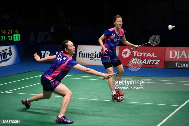 Chang Ye Na and Lee So Hee of Korea compete against Shiho Tanaka and Koharu Yonemoto of Japan during Womens Double Semifinal match of the BCA...