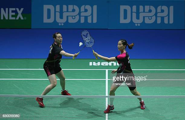 Chang Ye Na and Lee So Hee of Korea in action against Misaki Matsutomo and Ayaka Takahashi of Japan in the Women's Doubles during day three of the...