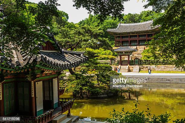 Changdeokgung Palace Complex (Unesco World Heritage), Secret Garden, the Buyongjeong Pavilion (on the left), the Buyongji Pond and the Juhamnu Pavilion