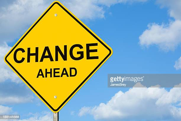 change ahead road sign - give way stock pictures, royalty-free photos & images