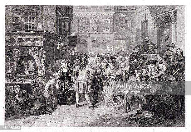 Change Alley London 1853 Street scene depicting events surrounding the South Sea Bubble The scene is taking place in front of Garraway's Coffee House...