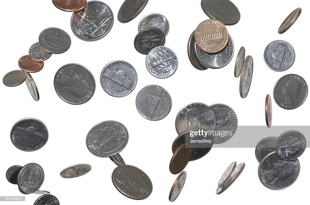 Change Falling From Sky, Heaven; Pennies, Dimes, Quarters, Nickles : Stock Photo