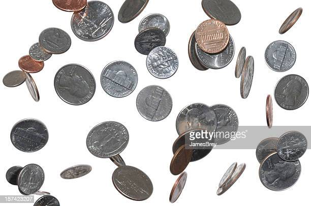 change falling from sky, heaven; pennies, dimes, quarters, nickles - coin stock pictures, royalty-free photos & images