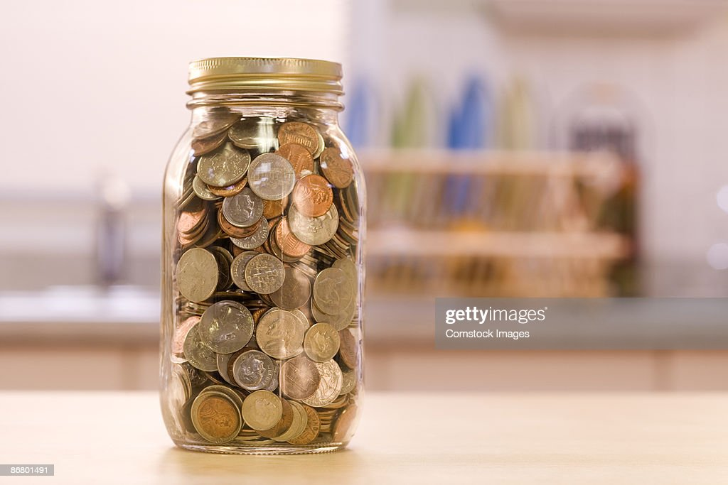 Change in a jar : Stock Photo