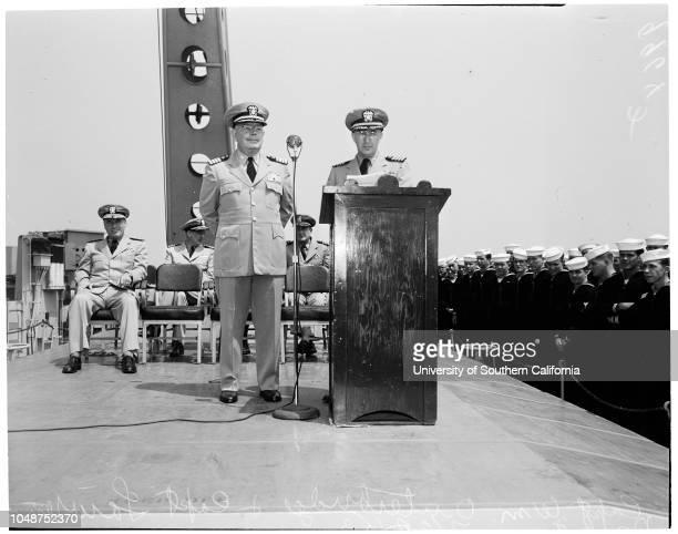Change of Command 1953 Captain Lawrence DaspitLieutenant Junior Grade JC WilcoxLieutenant Commander RW DartCommander JW GrossCommander WG...