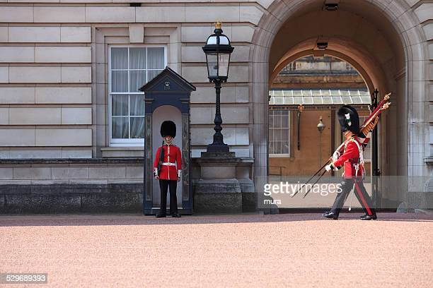 change of guards at buckingham palace - honor guard stock pictures, royalty-free photos & images