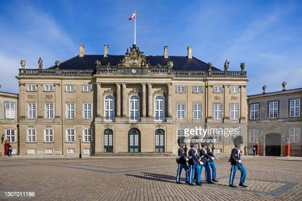 change of the guard at the danish royal palace - amalienborg palace stock pictures, royalty-free photos & images