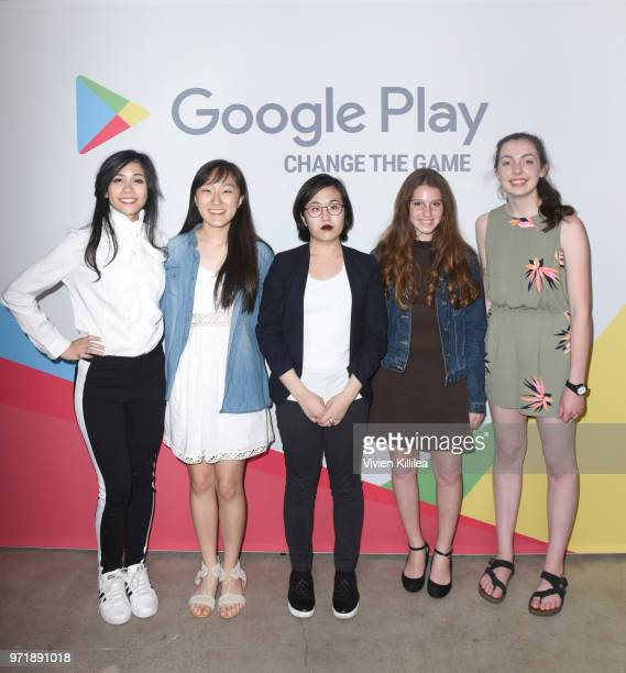 Change The Game Design Challenge Winners Erin Lauren Christine Dakota and Lily attend Google Play Hosts Change the Game VIP Event at E3 with Design...