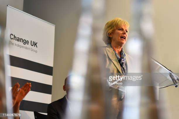 Change UK MP Anna Soubry speaks during a People's Vote Remain rally for the European elections by newly formed political party Change UK in London on...