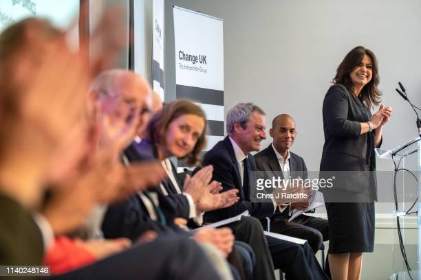 Change UK MP Heidi Allen speaks during a People's Vote Remain rally for the European elections by newly formed political party Change UK in London on...