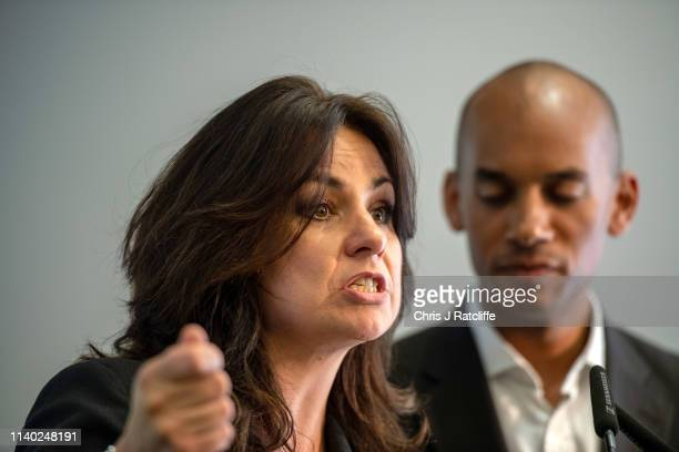 Change UK MP Heidi Allen speaks next to Chuka Umunna during a People's Vote Remain rally for the European elections by newly formed political party...
