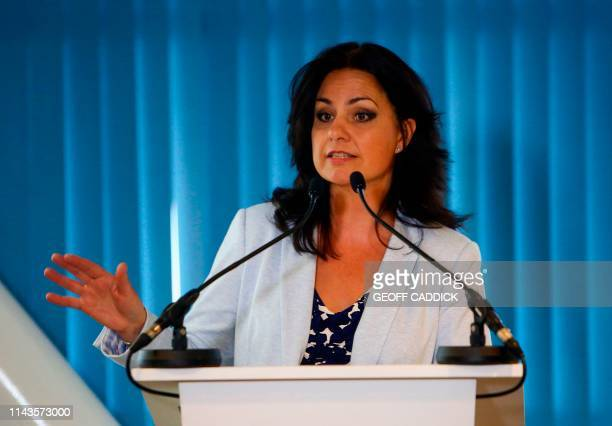 Change UK's Interim Leader Heidi Allen speaks during a antiBrexit People's Vote Remain Rally at the Principality Stadium in Cardiff south Wales on...