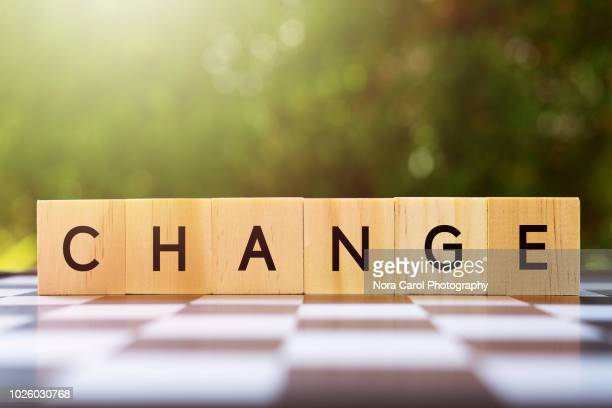 change word on wood blocks - single word stock pictures, royalty-free photos & images