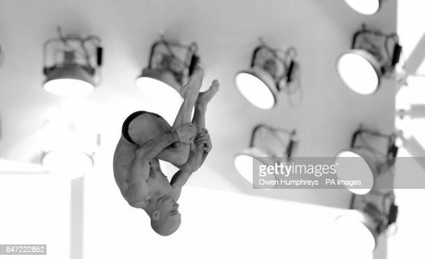 **Changed to Black and White in Photoshop** Great Britain's Pete Waterfield in the Men's 10m Platform Preliminary during the 18th FINA Visa Diving...