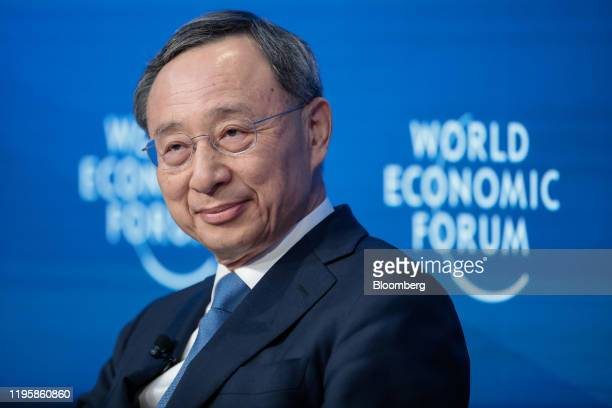 ChangGyu Hwang chief executive officer of KT Corp pauses during a panel session on the closing day of the World Economic Forum in Davos Switzerland...