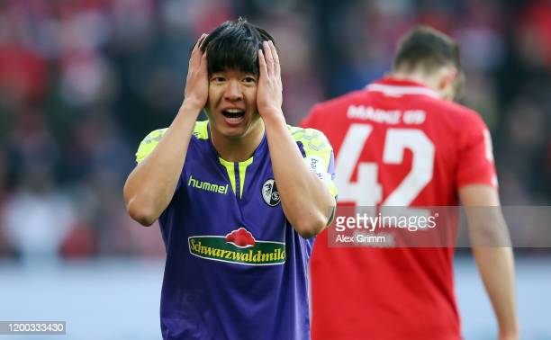 Chang-hoon Kwon of Freiburg reacts during the Bundesliga match between 1. FSV Mainz 05 and Sport-Club Freiburg at Opel Arena on January 18, 2020 in...