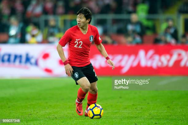 Chang-hoon Kwon of Korea controls the ball during the international friendly match between Poland and South Korea at Silesian Stadium in Chorzow,...