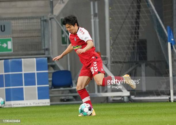 Chang-hoon Kwon of SC Freiburg during the Bundesliga match between TSG Hoffenheim and Sport-Club Freiburg at PreZero-Arena on January 2, 2021 in...