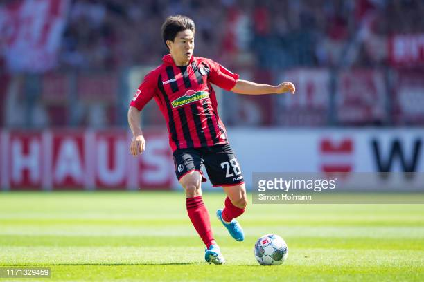 Chang-hun Kwon of Freiburg controls the ball during the Bundesliga match between Sport-Club Freiburg and 1. FC Koeln at Schwarzwald-Stadion on August...