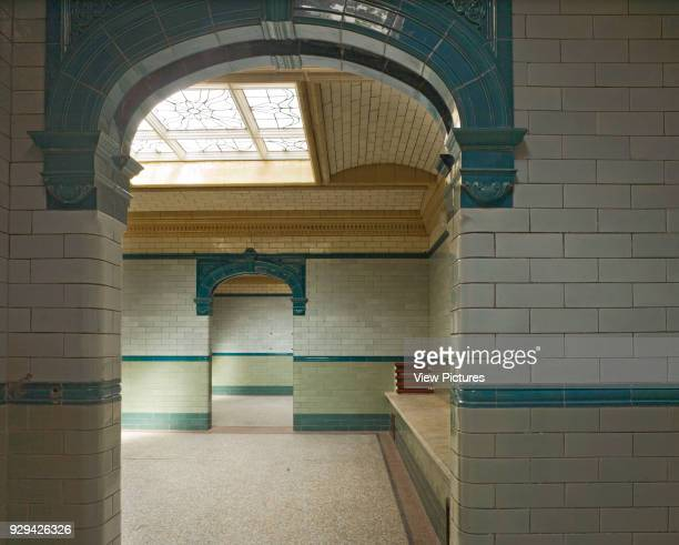 Changing area with terrazzo floors tiled walls and stained glass skylight Victoria Baths Manchester United Kingdom Architect Henry Price 1906