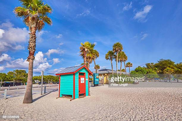 changing cabanas on manatee beach,florida - anna maria island stock pictures, royalty-free photos & images