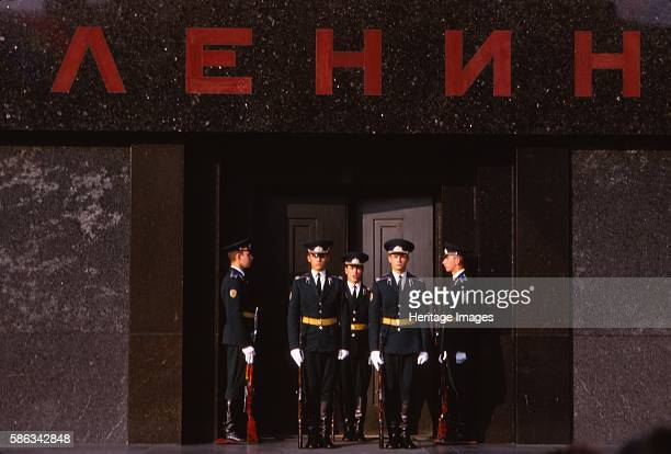 Changing Guard at Lenins Tomb Red Square Moscow 20th century Armed police and military guards at doorway to mausoleum and resting place of Vladimir...