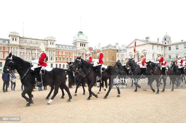 changing of the guard at horse guards, london - cavalry stock pictures, royalty-free photos & images
