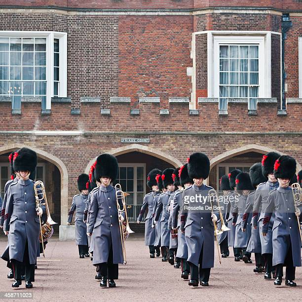 changing of the guard at st james's palace - st james palace stock pictures, royalty-free photos & images