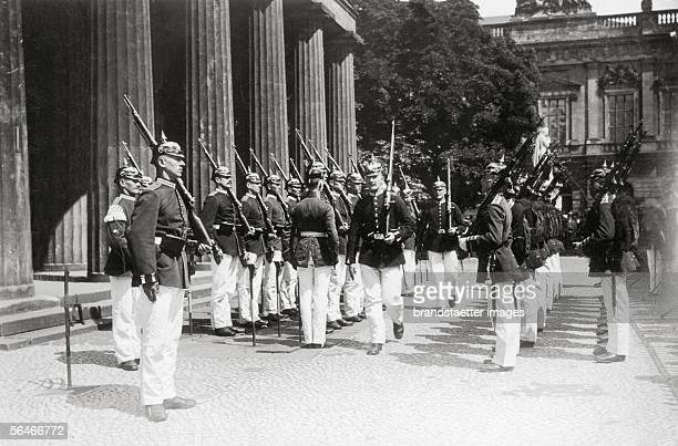 Changing of the guard at the 'Neue Wache' Unter den Linden Berlin Germany Photography 1911 [Wachabloesung an der 'Neuen Wache' Unter den Linden...