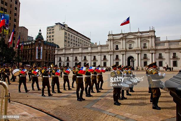 Changing of the guards at La Moneda Palace in Santiago Chile