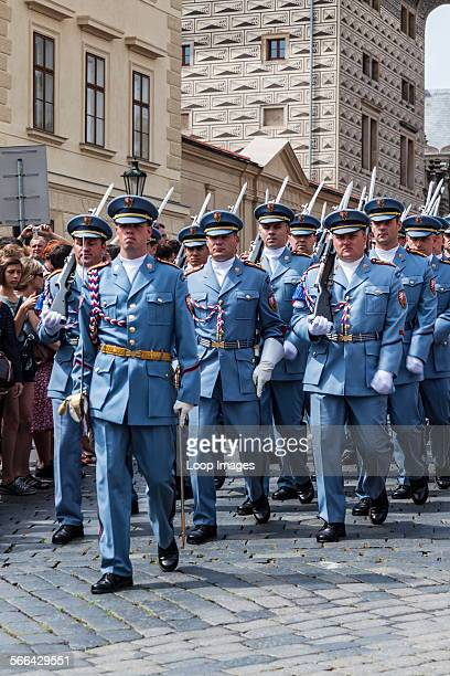 Changing of the Guards ceremony at Prague Castle in the Czech Republic